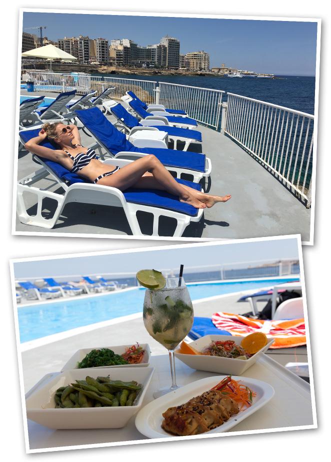"""Pasar el relajado día junto al mar en el Club de Mar """"Kuta Beach Club"""" donde hay una agradable piscina, tienen acceso al mar y hay rica comida."""