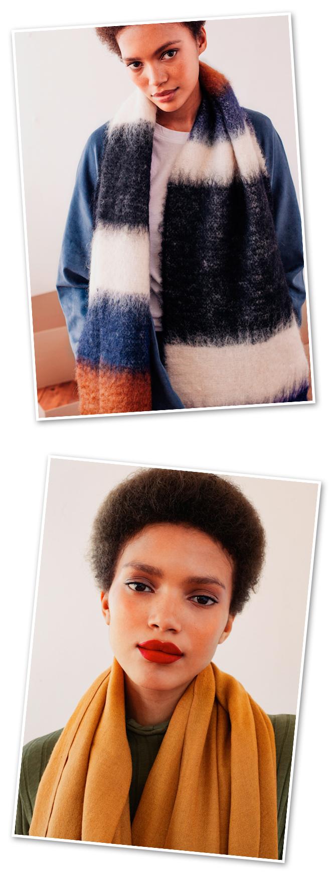 En cuanto a tejidos, encontramos marcas que apuestan por la calidad nacional y extraordinaria, como Stone Warm Simplicity con bufandas y fulares en materiales como la lana y el mohair.