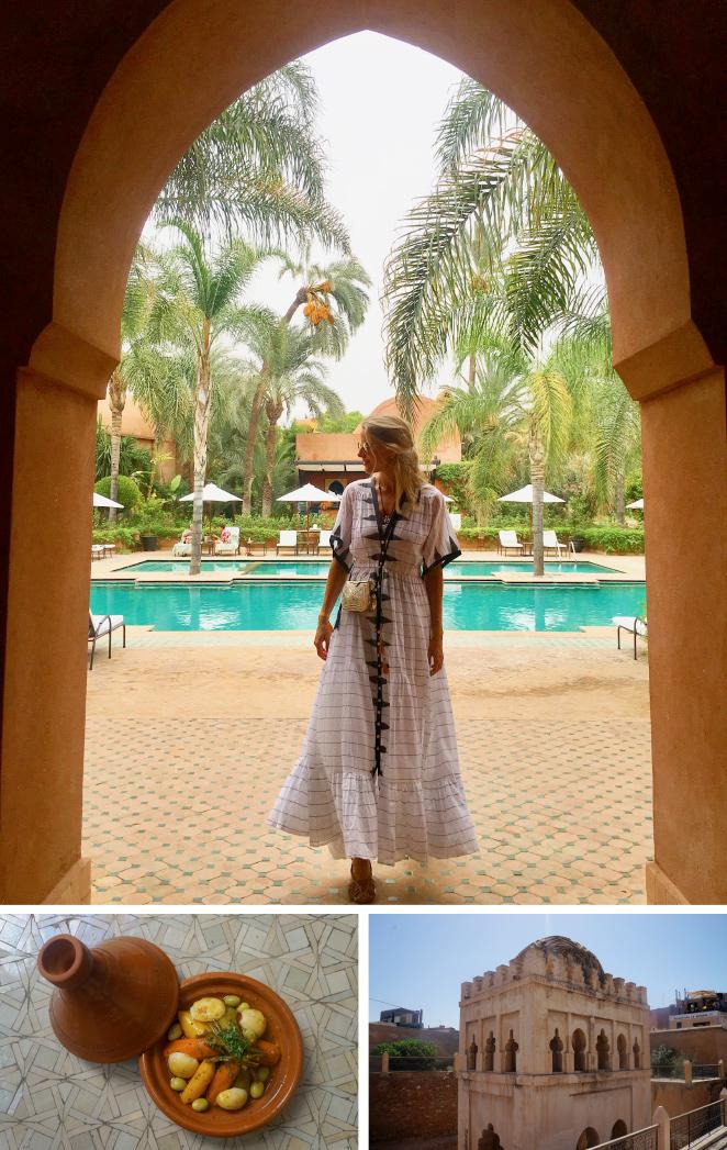 Ya he pisado territorio marroquí varias veces y volver me hace revivir el hechizo que sentí por primera vez por esta urbe tan cosmopolita y con tanto sabor. Para mí, Marrakech es la ciudad de los sentidos: Los tonos terracota de la ciudad y los vivos colores de su artesanía enamoran la vista; el oído se inspira con la peculiar llamada al rezo, que identifica por completo a la ciudad; el gusto se puede deleitar con el pan con aceite de argán, el característico cordero o un tajin de pollo al limón con cous cous o la Pastela (un hojaldre delicioso hecho con carne de tórtola, almendras, huevo y canela que para mi representa el sabor de esta atractiva ciudad); el olfato se enciende con el aroma a azahar de la ciudad y sus perfumes y aceites esenciales; y el tacto se renueva con las experiencias únicas de los hammam, en especial el del Hotel La Mamounia, del que más adelante os hablaré.