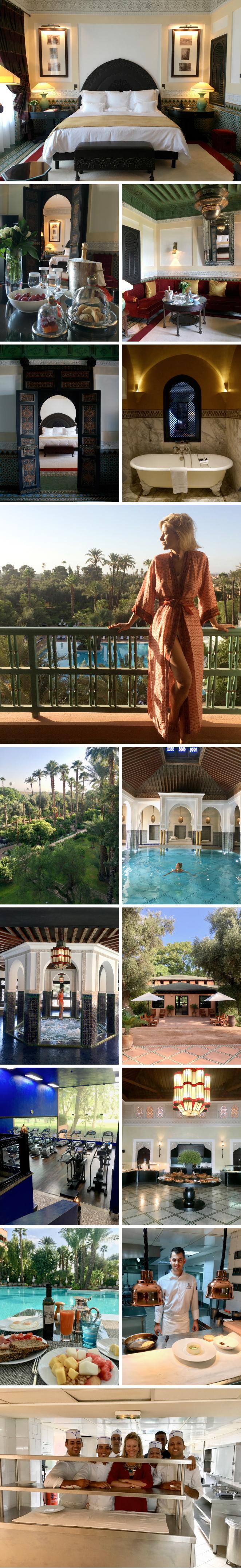 Nada más llegar te reciben con la bienvenida tradicional de Marruecos: leche de almendra con agua de azahar y dátiles. Enseguida te acompañan a tu habitación, una suite con terraza con vistas a los jardines. Y de ahí hay que conocer los mil y un detalles del hotel: tres riads con piscina y patios, cinco bares, cuatro restaurantes (marroquí, francés, italiano y uno más en el que se disfruta de un magnífico brunch dominical), un gimnasio rodeado por naranjos y palmeras, piscina interior climatizada con ozono y dos hammams tradicionales, entre otros servicios exclusivos.