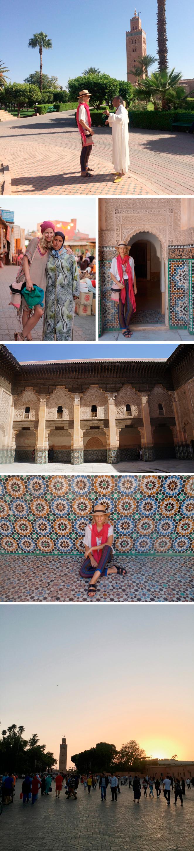 Cada esquina tiene una historia propia, como el minarete de la mezquita de Koutubia, rematado con tres bolas de oro creadas con las joyas fundidas de una princesa que redimió así su pecado de no haber ayunado en Ramadán; la calle de las siete vueltas (la primera de Marrakech, construida en el siglo XI); la Madrassa Ben Yusef, una escuela coránica de la Edad Media de estilo morisco con artesonados en relieve que simbolizan la esperanza; o la Jemma El-Fna, punto de encuentro de los habitantes de la ciudad, donde encuentras comida típica marroquí, plantas medicinales, artesanía... y un verdadero ir y venir de gente que convierte esta plaza en el corazón de Marrakech, declarada Patrimonio de la Humanidad en el 2001 por la UNESCO. Allí me encanta tomar, al atardecer, un té moruno en el Café Francés, un establecimiento mítico donde se reúnen los intelectuales bohemios de la ciudad.