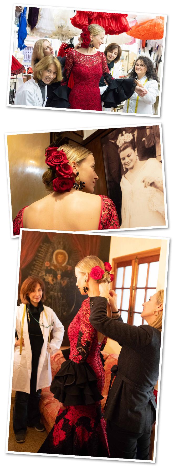 """Y también algunos """"flashes"""" de los pocos días feriantes que he vivido…El tradicional """"pescaito"""", día en el que se inaugura la Feria de Abril, además de un flamenco muy especial organizado por mi amigo Cedric Revesade la noche anterior y para el cual Lina (www.lina1960.com) me diseñó un vestido muy especial de encaje rojo y negro que no me pudo gustar más. Ella fue la encargada de vestir a la elegantísima Grace Kelly cuando visitó la feria en los 50"""