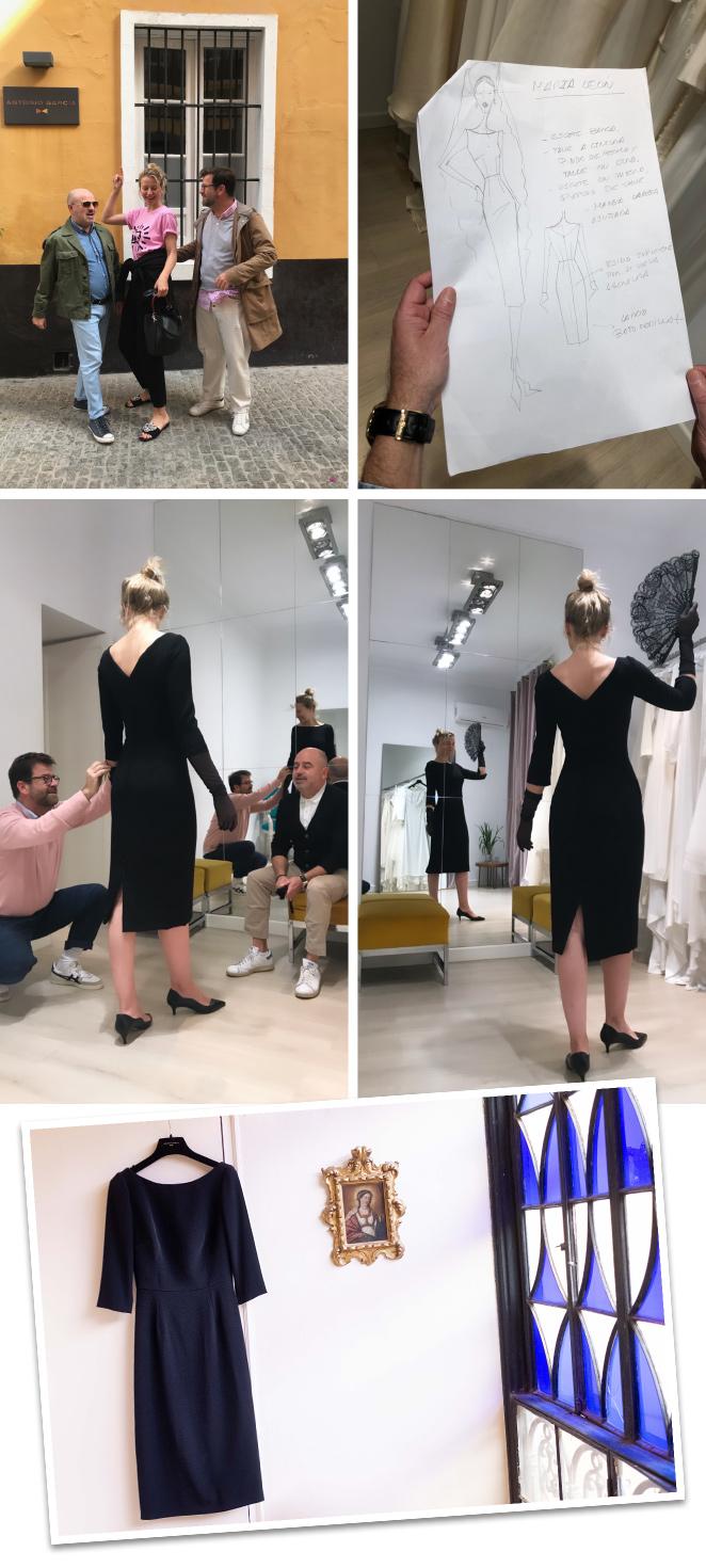 El vestido me lo hicieron a medida y con gran delicadeza en el Estudio de Antonio García, uno de mis diseñadores favoritos de España. Los hermanos Antonio y Fernando García se desvivieron por crear un diseño muy especial y acorde al momento.