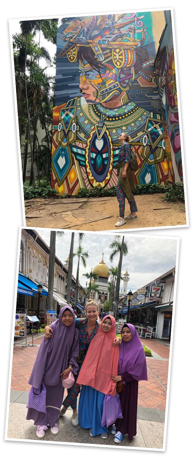 Barrio Árabe conocido con el nombre de Kampong Glam, fue una de las primeras zonas habitadas de Singapur donde se puede palpar la cultura árabe en cada uno de sus rincones. Destacan entre todas la calle Arab repleta de tiendas y restaurantes árabes y Bussorah Mall al final de la cual se encuentra la espectacular Mezquita del Sultán construida en 1924.