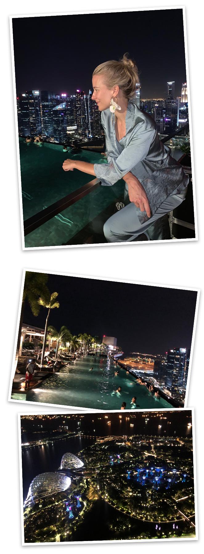 Una copa en la terraza CeLaVi del Hotel Marina Bay Sands. Impresionantes las vistas, divertido ambiente y muy buena música.