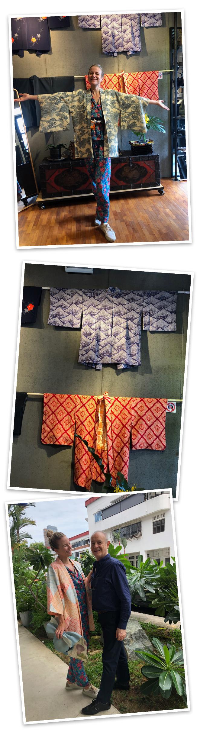 DGA Threads. Justo enfrente del Mercado Tiong Bahru, esta tienda fue todo un descubrimiento. Maravillosa su selección de ropa de estilo asiático. Me enamoré de sus preciosos kimonos de elegantes tejidos. Pino, su encantador propietario que es italiano, me dio buenísimas lecciones de cómo ponerse cada prenda!!