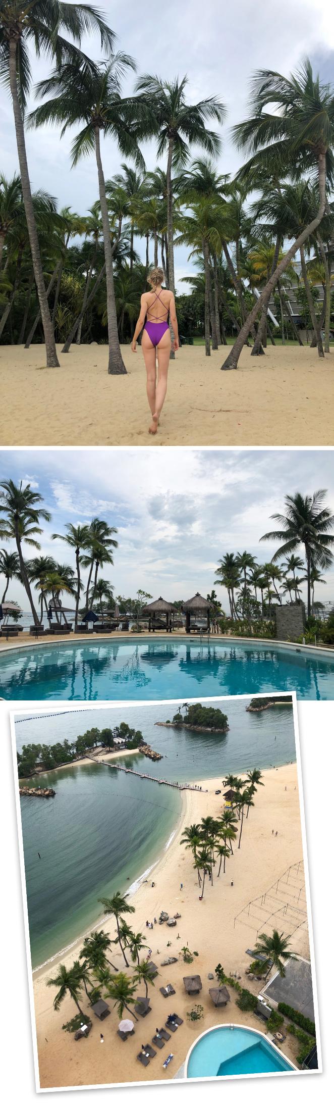 Isla de Sentosa.Es una isla turística artificial donde los singapurenses vas a descansar, disfrutar de la playa y practicar todo tipo de deportes acuáticos.