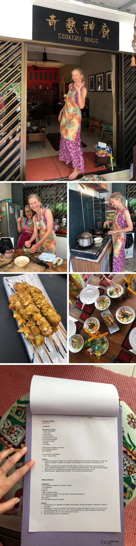 Clases de cocina con Cookery Magic. Poder aprender las recetas de los platos más típicos de Singapur como son el satay, el arroz y los noodles con la Chef Ruqxana, que recibe con gran cariño en su propia casa, es también una experiencia muy enriquecedora. La mejor guinda de este plan es poder disfrutar de la comida elaborada en compañía de tu grupo de amigos con los que has cocinado.