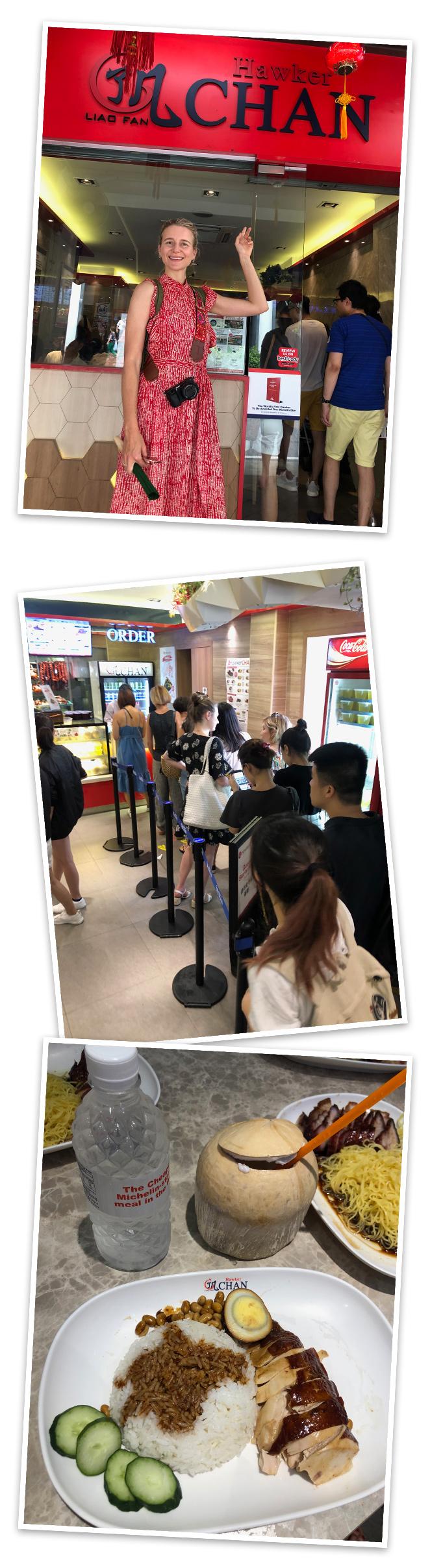 Hawker Chan Lio Fan. Situado en el Barrio Chino es el restaurante con 1 estrella Michelín más barato del mundo. Su receta de pollo con salsa de soja es su plato estrella pero a mi, sinceramente, tampoco me pareció nada del otro mundo.