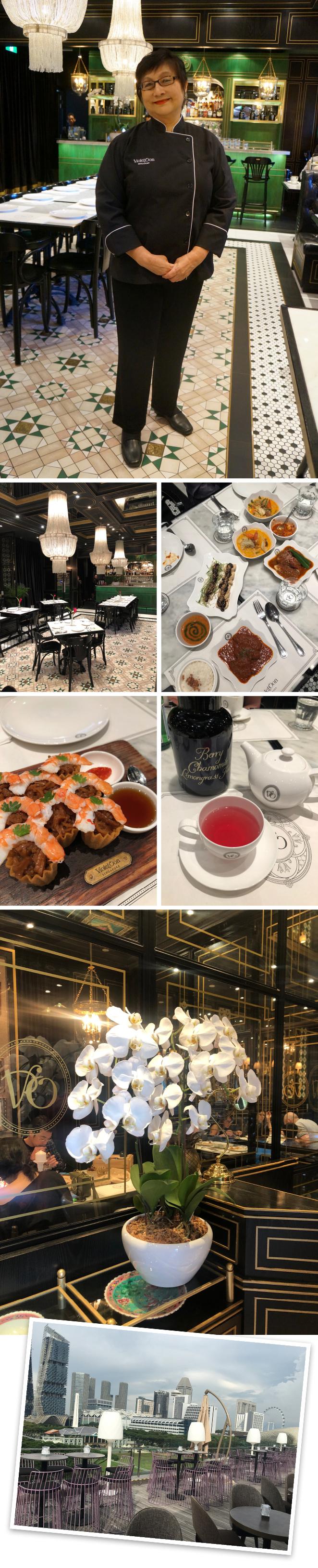 """Violet Oon. Ubicado en la Galería Nacional, este restaurante destaca no solo por su gran cocina típica de Singapur, también por su elegante decoración con estilo muy """"Art Decó"""". Su propietaria es además de Chef una reconocida crítica gastronómica que ha escrito muchísimos libros de cocina."""