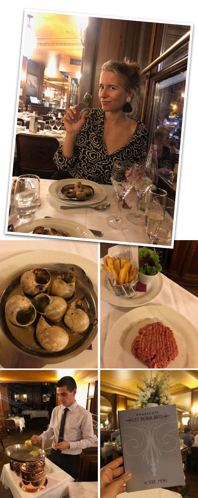 """Otro sitio que os recomendaría para una cena que jamás olvidaréis es """"La Brasserie Les Beaux Arts"""", situado frente al Pont Neuf. Espectacular su cocina típica francesa. Me encantó, especialmente, probar los escargots, el foie, el steak tartare y los profiteroles."""